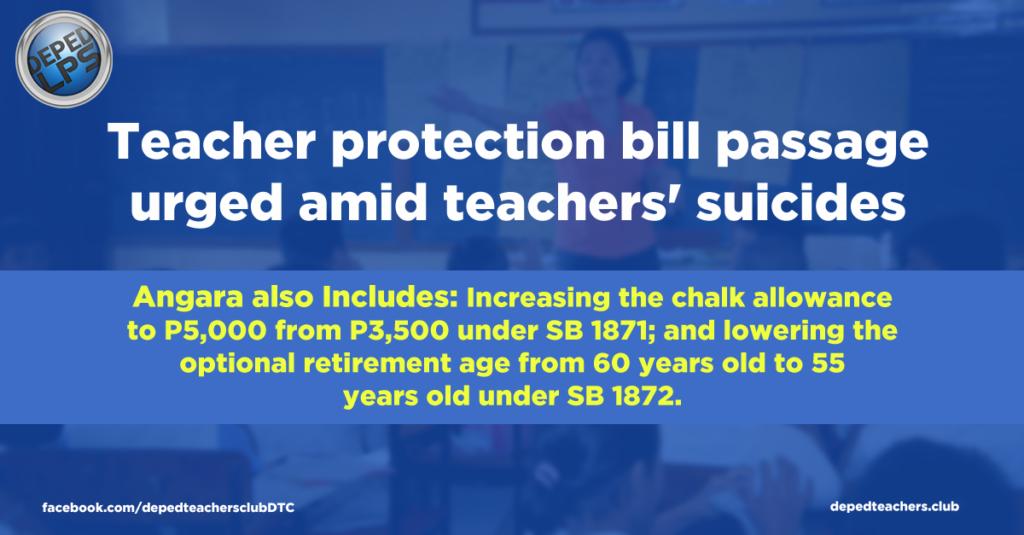 Teacher protection bill passage urged amid teachers' suicides DTC