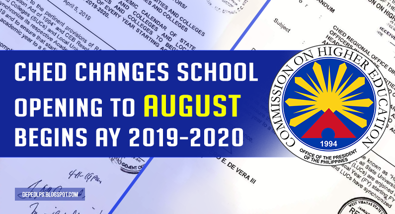CHED changes school opening to August begins AY 2019-2020