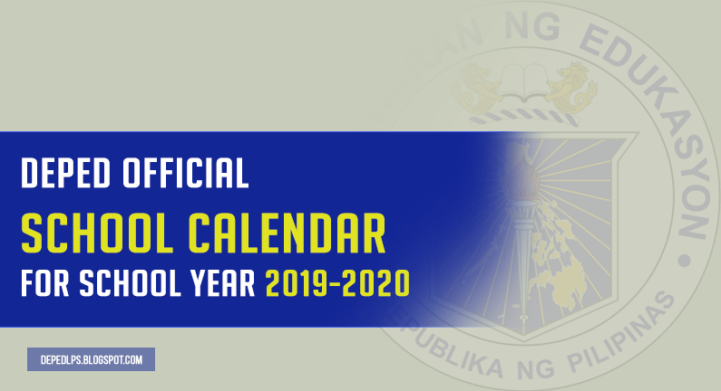 DepEd School Calendar for School Year 2019-2020
