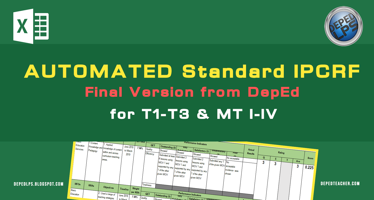 Standard Automated IPCRF Final Version from DepEd for Teachers