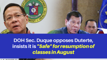 Duque opposes Duterte, insists it is 'Safe' for resumption of classes in August