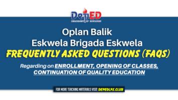 Oplan Balik Eskwela – Brigada Eskwela Frequently Asked Questions (FAQS)