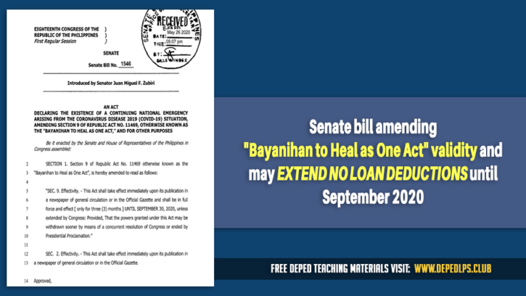 Senate bill amending Bayanihan to Heal as One Act validity and may extend No loan deductions until September 2020