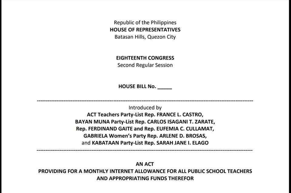 Internet allowance act deped teachers