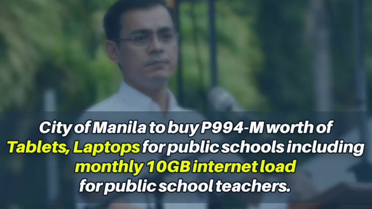 City of Manila to buy P994-M worth of tablets, laptops for public schools including monthly 10GB internet load for public school teachers