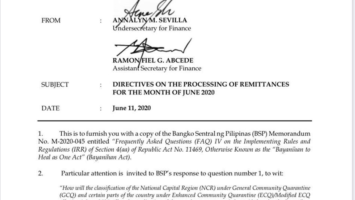 Directives on the processing of remittances for the month of June 2020