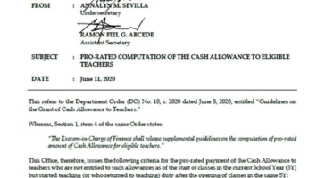 Pro-rated Computation of the Cash Allowance to Eligible Teachers