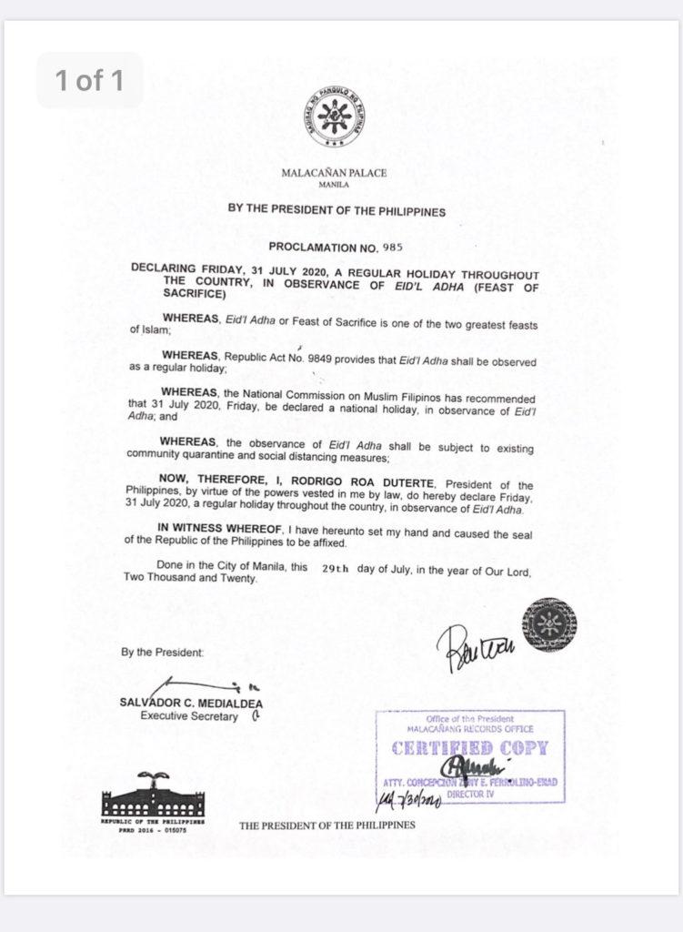 #walangpasok: Pres. Duterte declares July 31 a regular holiday for Eid al-Adha