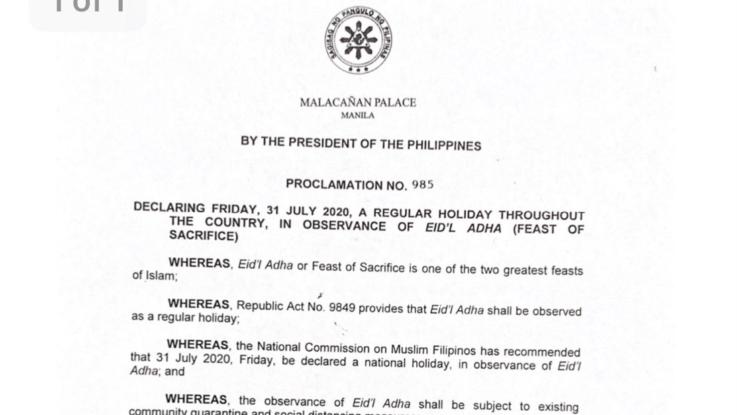 Pres. Duterte declares July 31 a regular holiday for Eid al-Adha