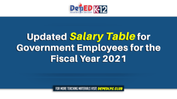 Updated Salary Table for Government Employees for the Fiscal Year 2021