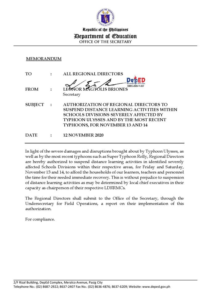 DepEd allowed regional directors to suspend distance learning activities within Nov. 13-14, 2020
