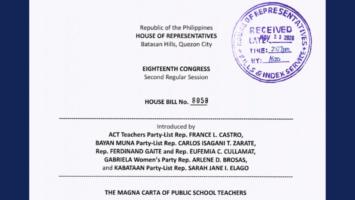 New bill filed amending the Magna Carta for Public School Teachers