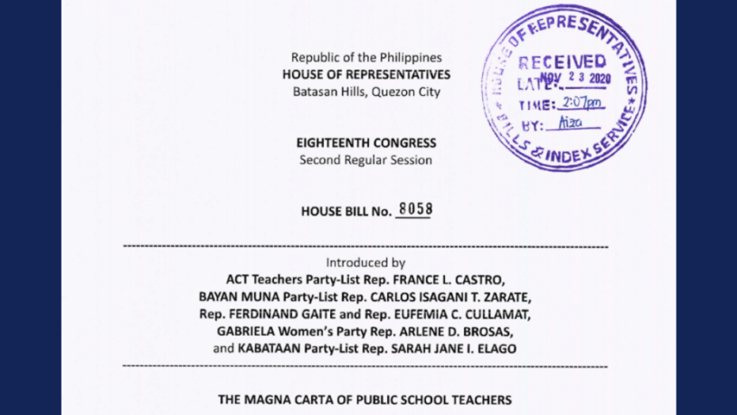 New bill filed amending the Magna Carta for Public School Teachers