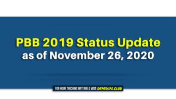 PBB 2019 Status Update as of November 26, 2020