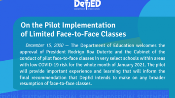 DepEd's Official Statement on the Implementation of Limited Face-to-Face Classes
