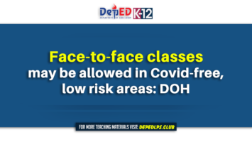 Face-to-face classes may be allowed in Covid-free, low risk areas DOH