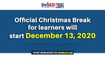 Official Christmas break for learners will start December 13