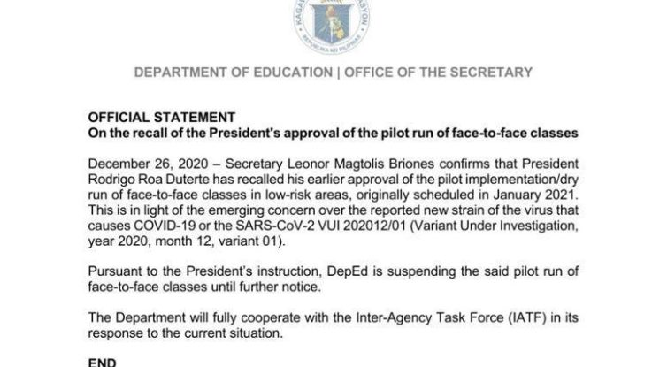 Pres. Duterte suspends dry-run of face to face classes on January 2021