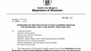 Guidelines on the Evaluation of Self-Learning Modules (SLMs) for Quarters 3 and 4 for SY 2020-2021