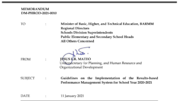 Guidelines on the Implementation of RPMS for SY 2020-2021