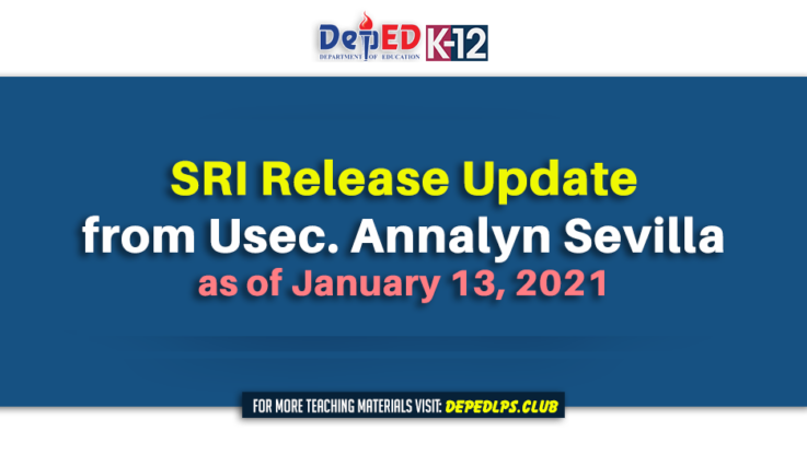 SRI Release Update from Usec. Annalyn Sevilla as of January 13, 2021