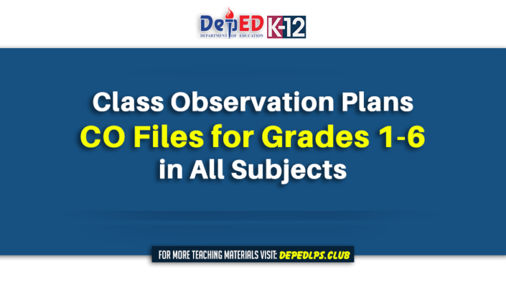Class Observation Plans CO Files for Grades 1-6 in All Subjects