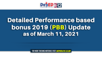 Detailed Performance based bonus 2019 (PBB) Update as of March 11, 2021