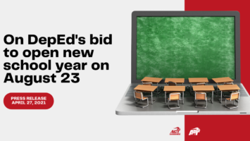 On DepEd's bid to open new school year on August 23: ACT