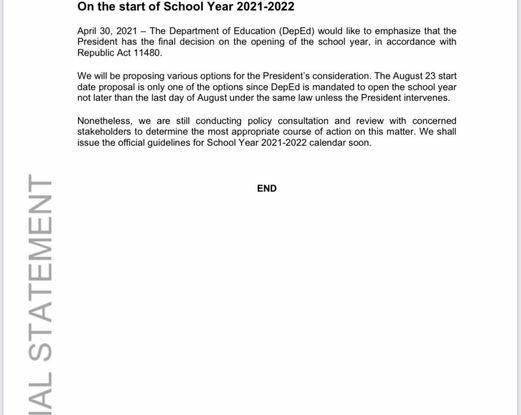 School year 2020-2021