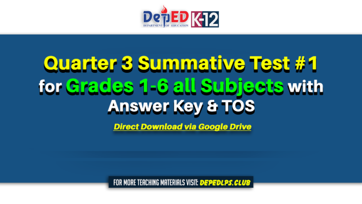 Quarter 3 Summative Test #1 for Grades 1-6 all Subjects with Answer Key & TOS