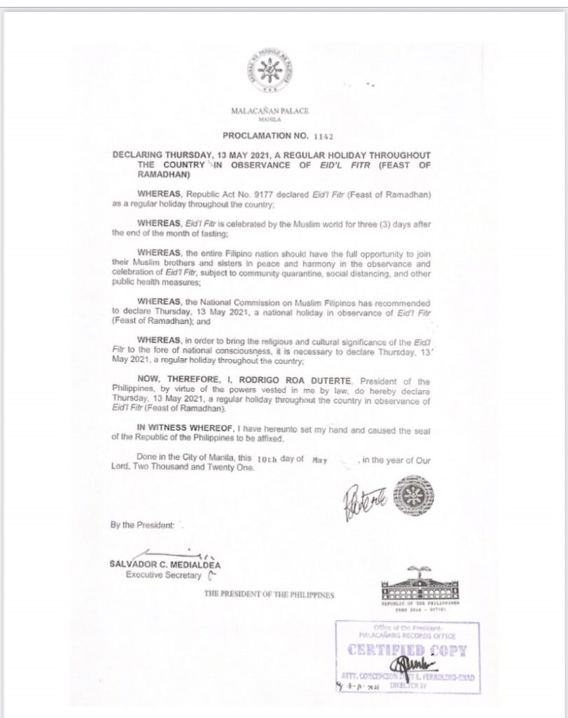 Regular Holiday May 13, 2021, in Observance of Eid'l Fitr