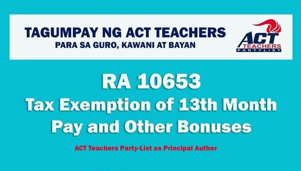 R.A 10653 Tax Exemption of 13th Month Pay and Other Bonuses