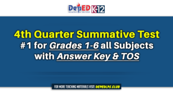 4th Quarter Summative Test #1 for Grades 1-6 all Subjects with Answer Key & TOS