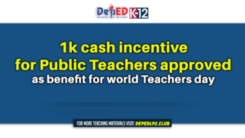 1k cash incentive for Public Teachers approved as benefit for world Teachers day
