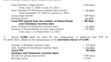 Proportional vacation pay computation for SY 2020-2021