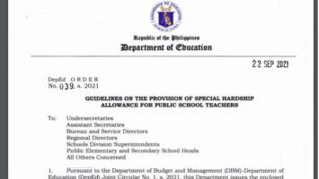 Guidelines on the Provision of Special Hardship Allowance for Public School Teachers